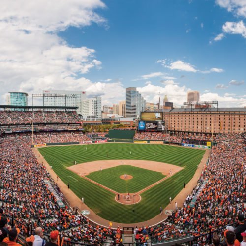 The view of the field at an Orioles game at Camden Yards.