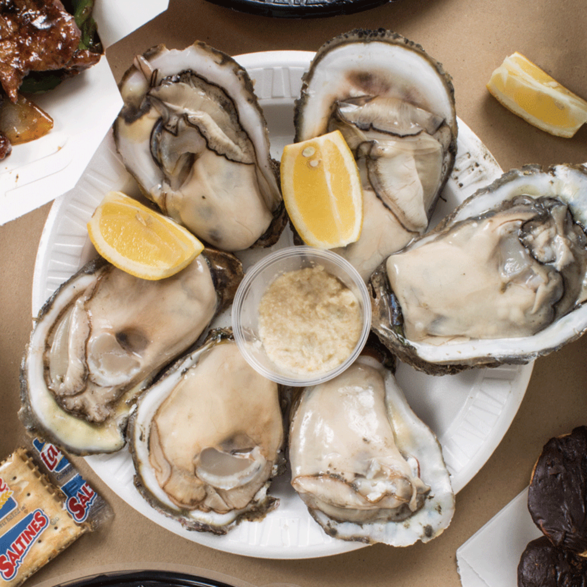 Plate of oysters at Nick's Fish House Square.