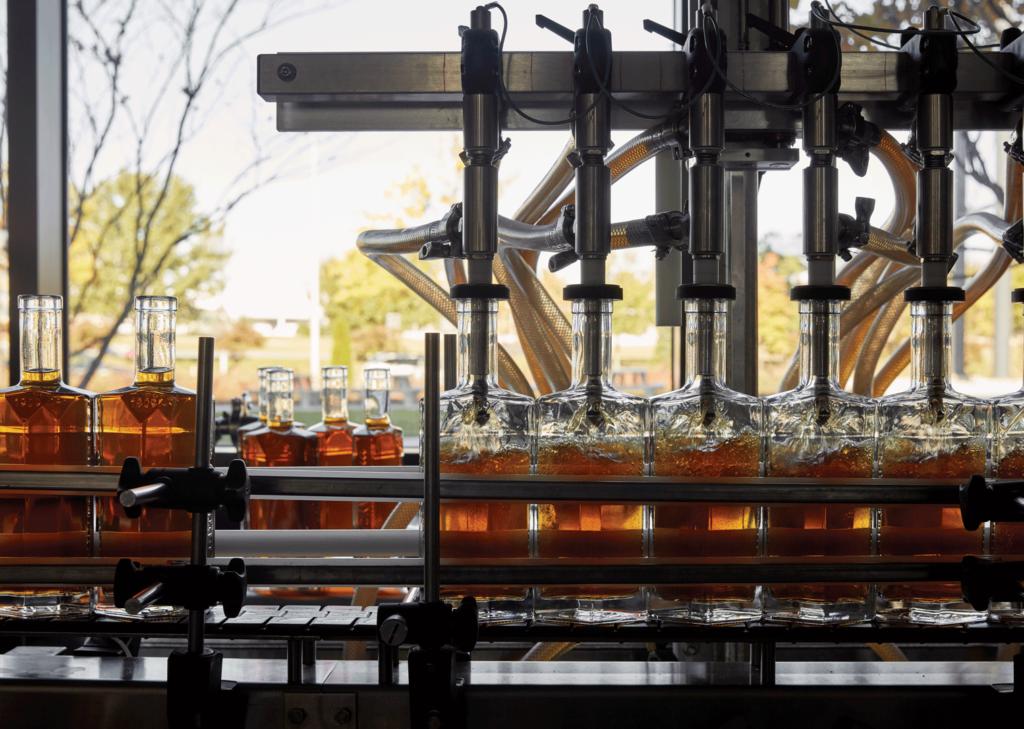 Bottles being filled at Sagamore Spirit Distillery
