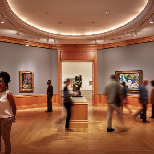 People looking at art inside of The Baltimore Museum of Art.