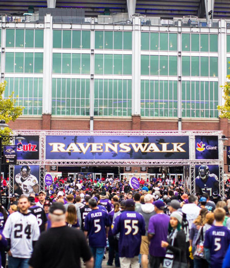 Ravens fans heading into M&T Bank Stadium on gameday.