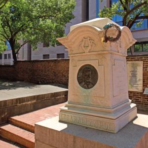 A photograph of Edgar Allen Poe's grave in Baltimore.