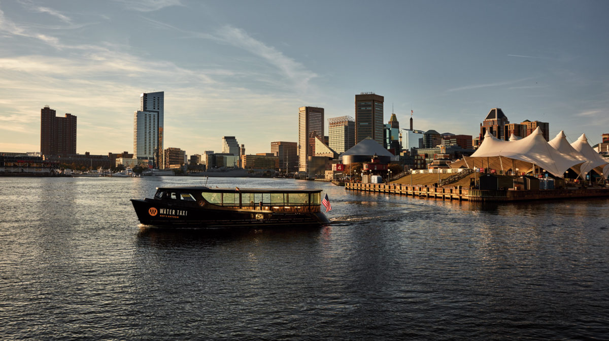 A water taxi in the Inner Harbor.