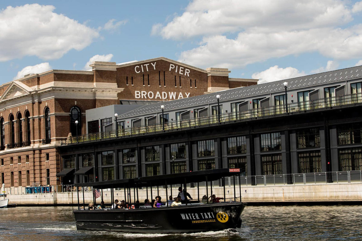 The City Pier and Water Taxi in Fells Point, Baltimore.