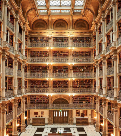 Interior from above of the Peabody Library in Baltimore.