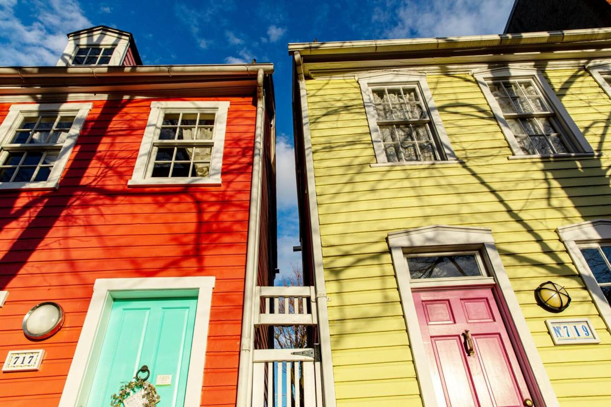 Brightly painted homes in historic Fells Point, Baltimore.