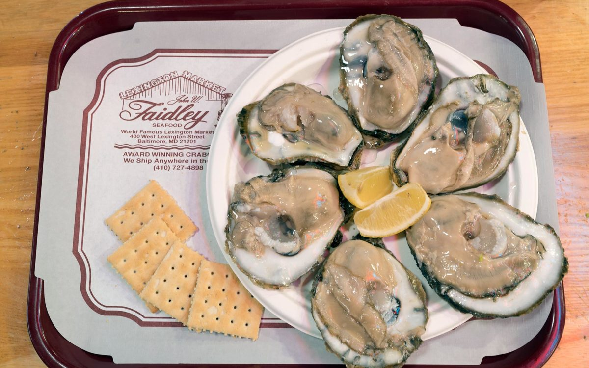A raw oysters and crackers on a tray at Finleys in Baltimore.