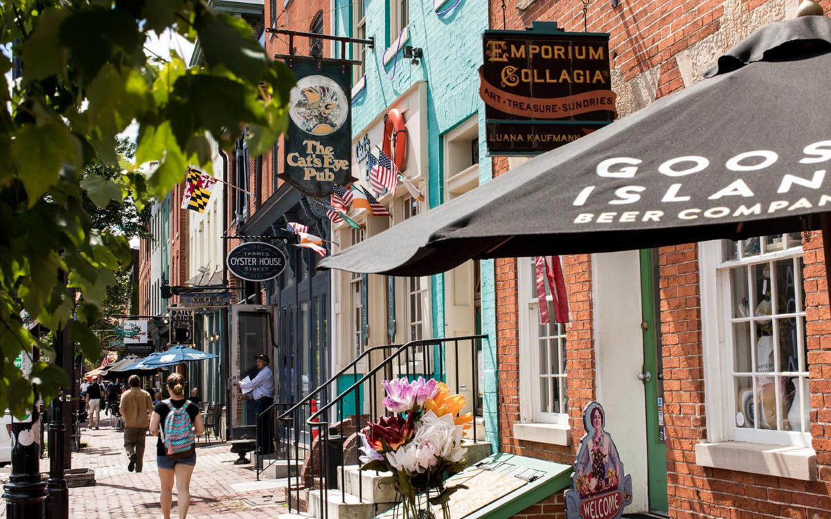 Shops in Fells Point, Baltimore.