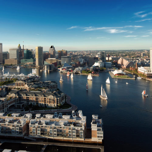 Aerial view of the Inner Harbor.