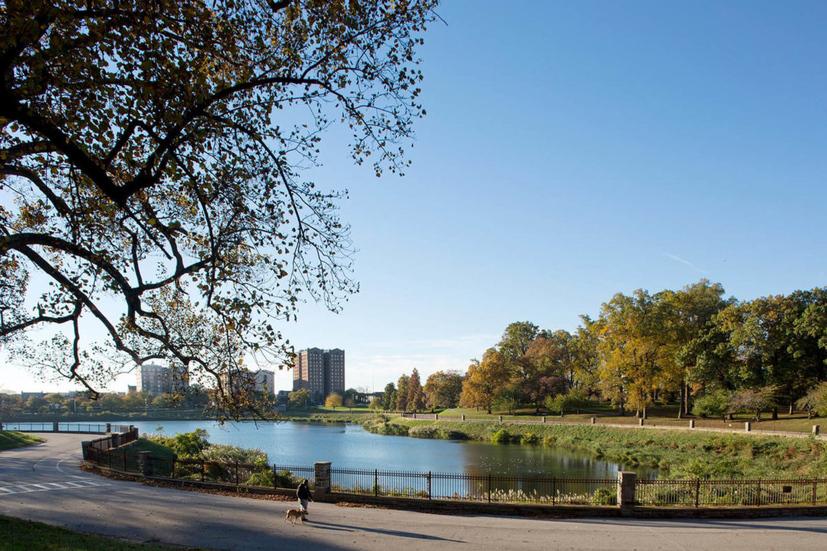 A view of the reservoir in Druid Hill Park in Baltimore.