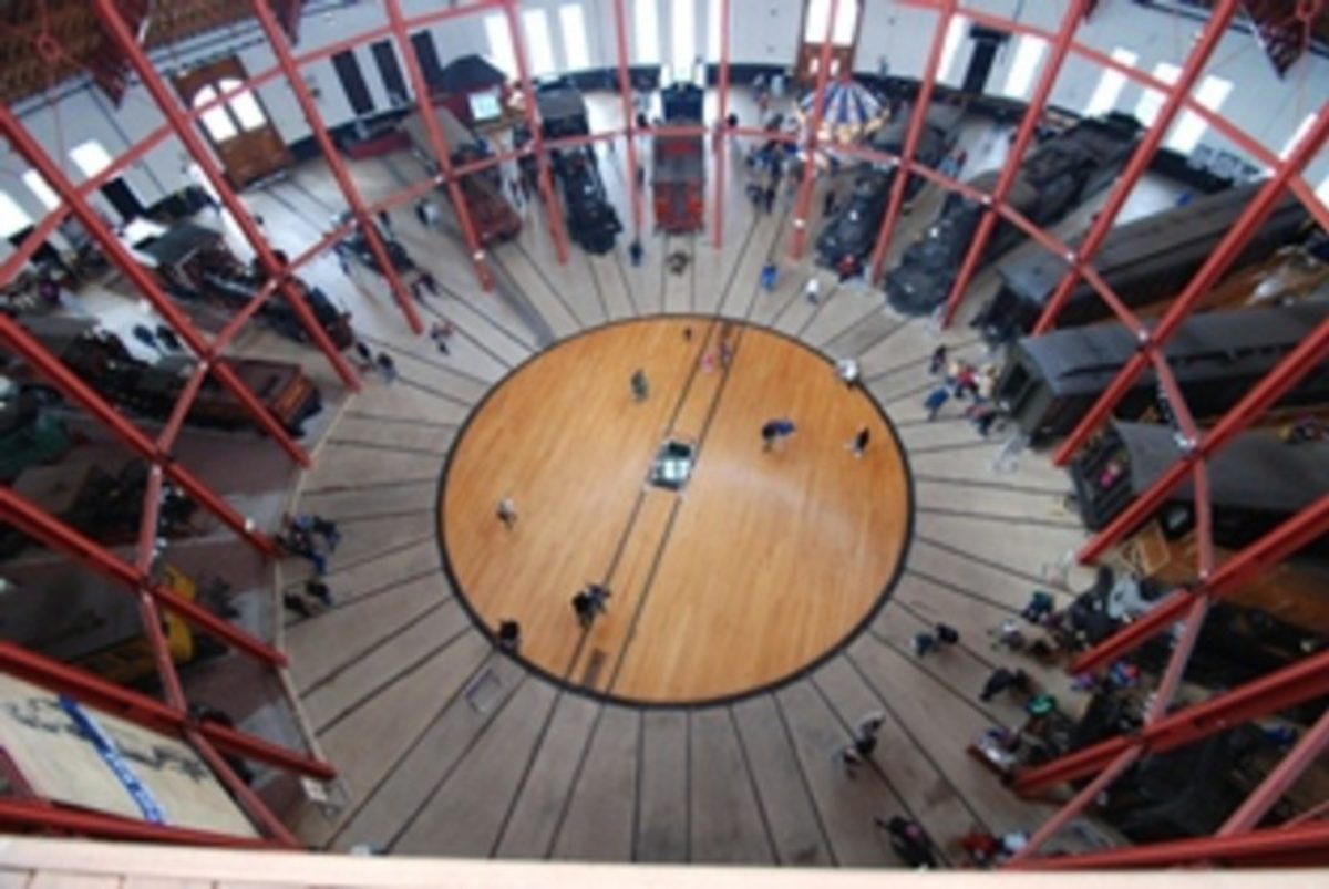 Aerial view of the center chamber at the B&O Railroad Museum.