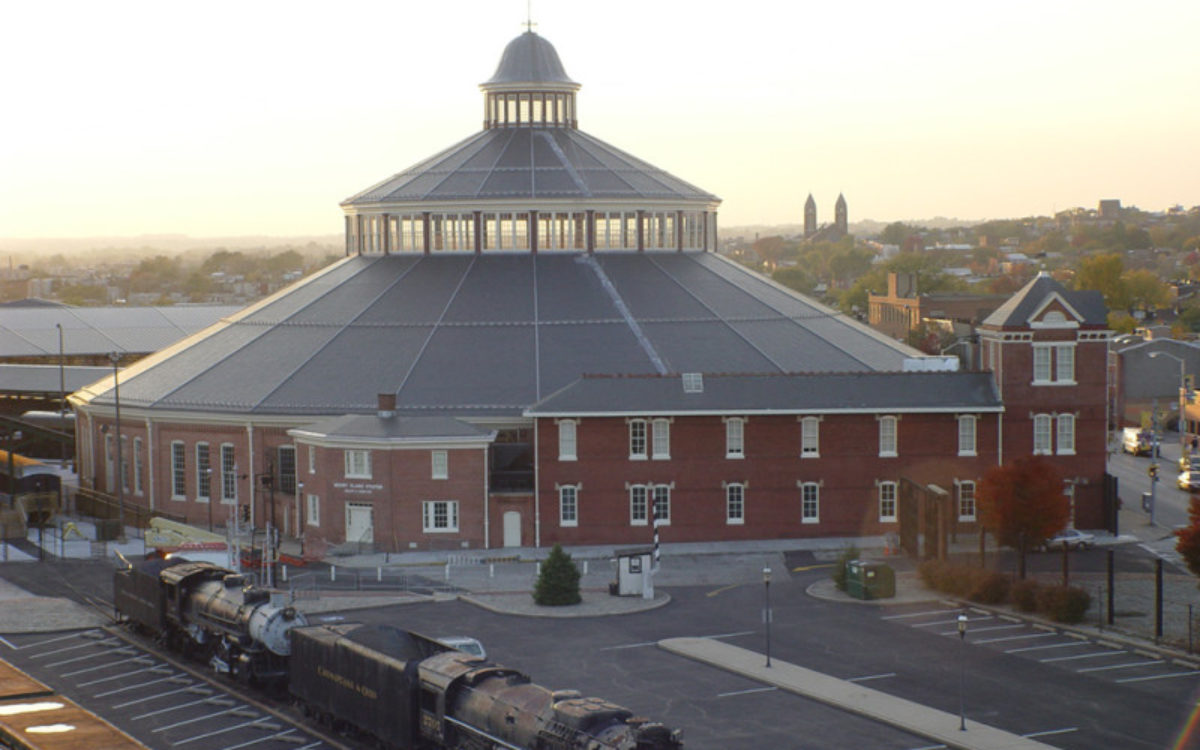 Exterior view of the B&O Railroad Museum at sunset.