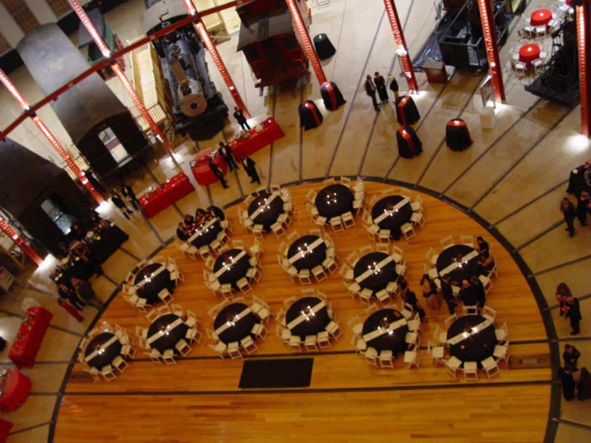 Aerial view of the center chamber at the B&O Railroad Museum dressed for an event.