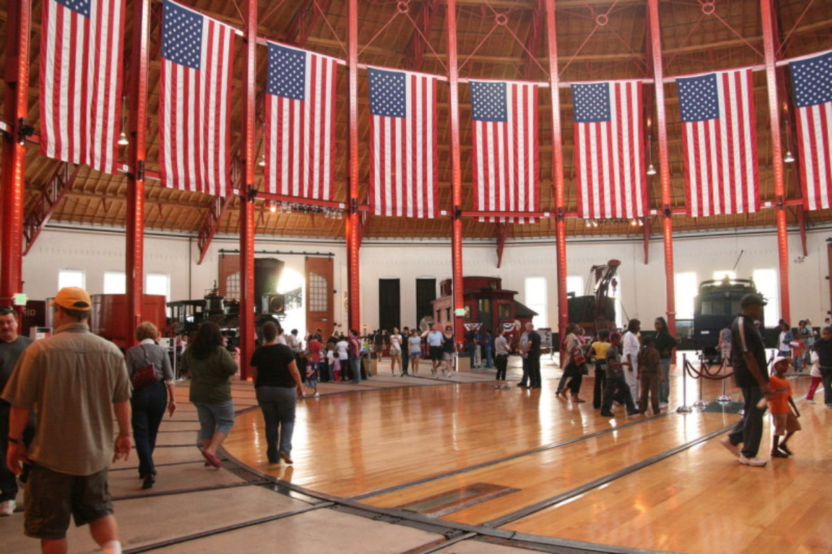 Center chamber in the B&O Railroad Museum decorated with American Flags.