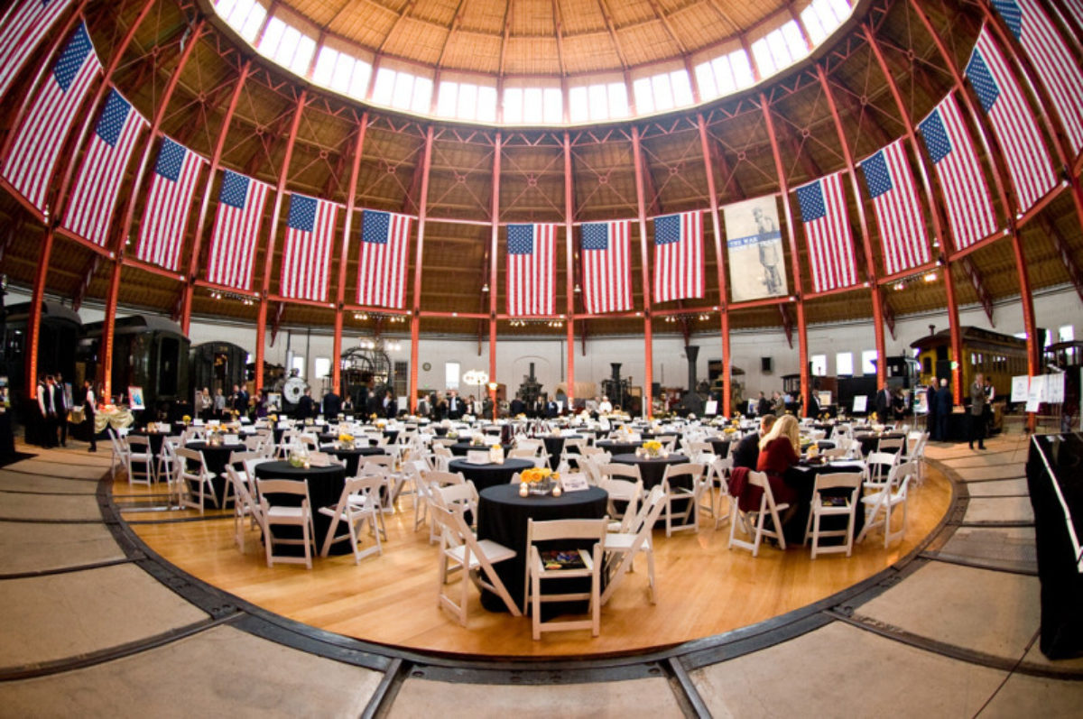 The central chamber at the B&O Railroad Museum with tables for an event.