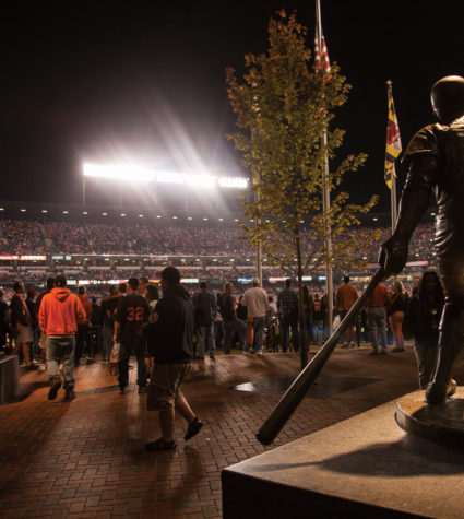 A night game at Oriole Park at Camden Yards.