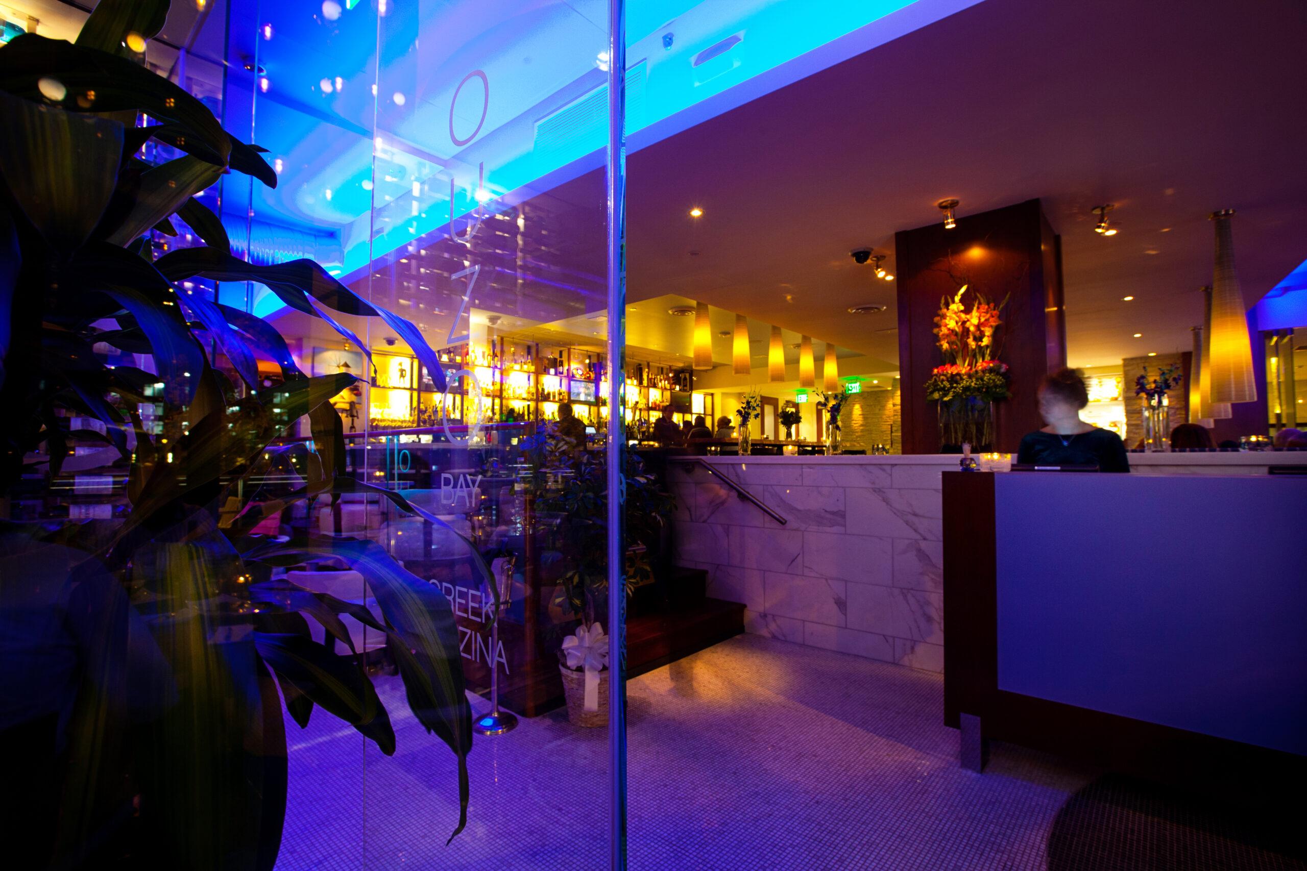 Restaurant entrance with blue lighting