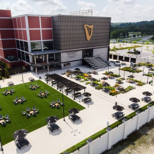 Aerial view of Guinness Open Gate Brewery and yard